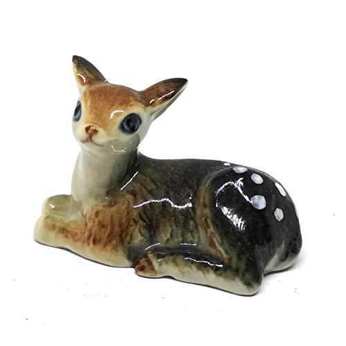 ZOOCRAFT Ceramic Deer Bambi Figurine Craft Miniature Collectible Porcelain Wildlife Animal