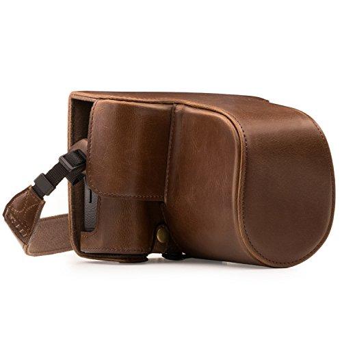MegaGear Ever Ready MG871 - Funda de Piel con Correa para cámara Fujifilm X-T2, Color marrón Oscuro