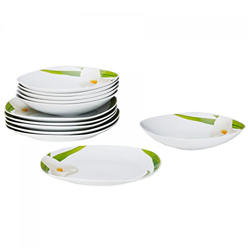 Van Well 12tlg.Tafelservice Calla für 6 Personen, Speiseteller + tiefe Suppenteller, weiße Blüte, Pflanzendekor, edles Porzellan-Geschirr, Gastro