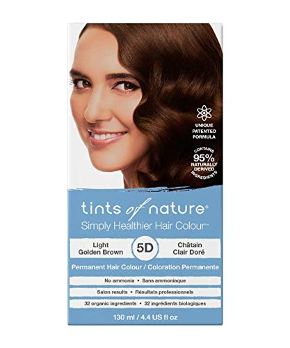 Tints of Nature 5D Light Golden Brown, Vegan Permanent Hair Dye, 95% Natural, Free from Ammonia, Parabens, and Propylene Glycol, Single