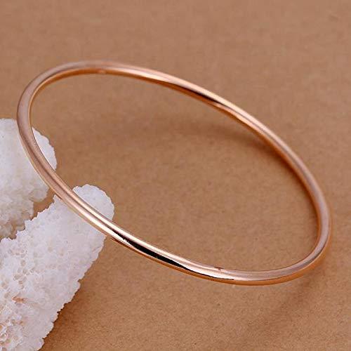 LOXBEE Joyas de plata de ley 925 de oro rosa redondo pulseras regalo para hombre y mujer