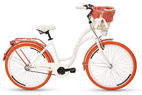 Goetze Damenfahrrad 26 Zoll Damen Citybike Stadtrad Damenrad Hollandrad Retro-Design Weidenkorb LED-Beleuchtung Weiß/Orange