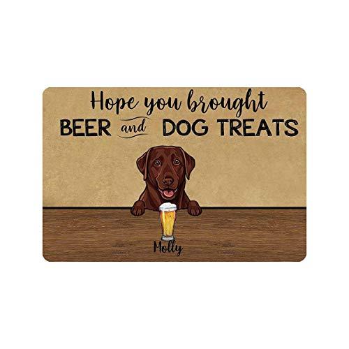 Indoor Doormat Entryway Door Rug Hope You Brought Beer and Dog Treats Front Door Mat Welcome Mat Dog Lover for Dog Lover
