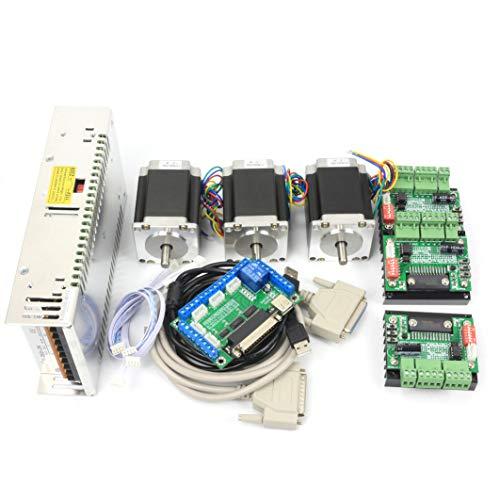 RATTMMOTOR Kit de controlador de motor paso a paso de 3 ejes, 2,8 Nm Nema23 y controlador TB6560 MD430 y fuente de alimentación conmutada de 350 W 24 V para motor CNC