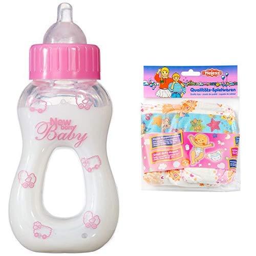 Simba 105563965 - New Born Baby Magisches Milchfläschchen, 13 cm & Heless 375 Puppenwindeln 3er, Größe 28 - 35 cm