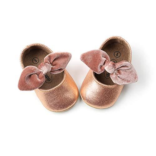 DOTBUY Leinwand Baby Schuhe Neugeborene Baby Mädchen Schuhe Kleinkind Bowknot Prinzessin Schuhe Weich Sohle Anti-Rutsch Lauflernschuhe Krippeschuhe (11cm / 0-6 Monat, Champagner Gold)