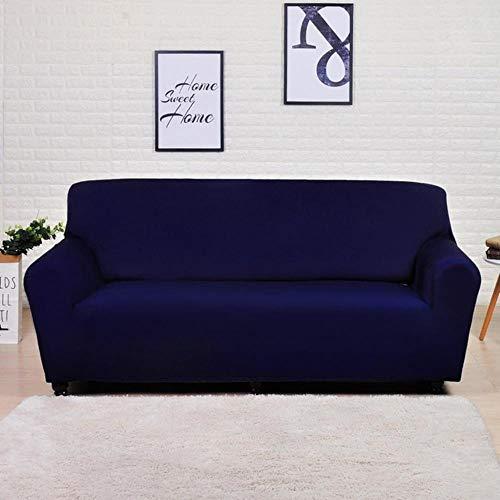 GJHGJ Funda de sofá elástica geométrica para Sala de Estar Funda de sofá seccional Moderna Funda Protectora para Silla 1/2/3/4 plazas-Azul Marino sólido, 3 plazas 190-230cm, Francia