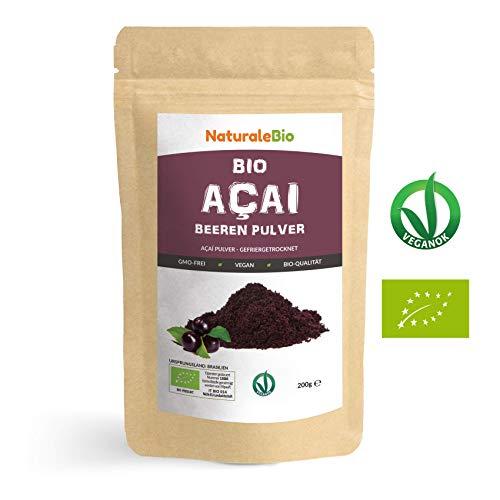 Açaí Beeren Pulver Bio [ Gefriergetrocknet ] 200g. Pure Organic Acai Berry Powder ( Freeze-Dried ). 100% aus Brasilien, Getrocknet, Rohkost und Extrakt aus Pulp der Acai-Beeren Frucht. NaturaleBio