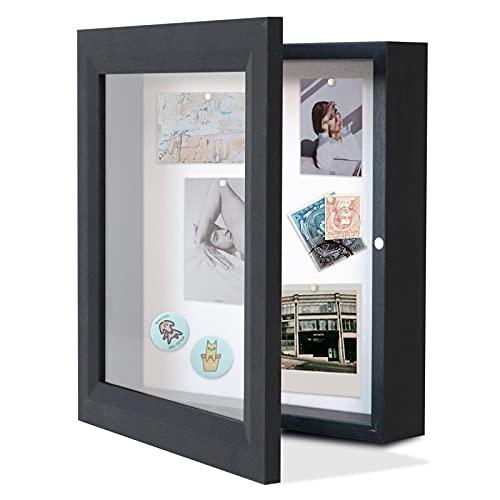 Muzilife 3D Bilderrahmen mit Magnetische Tür 25 x 25 cm Holz Objektrahmen zum Befüllen mit 6 Stecknadeln Schaukasten Shadow Box Frame, Geschenk für Hochzeit Bouquet Medaillen Erinnerungsbox (Schwarz)