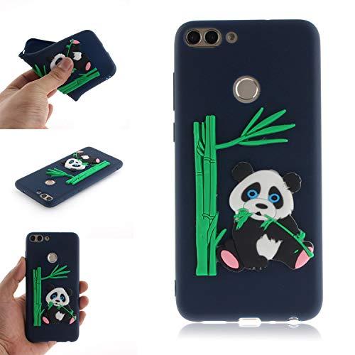 JCKHM Hülle kompatibel mit Huawei enjoy 7S Hülle Silikon,Panda isst Bambus-TPU-Schale Hülle Silikon Liquid Silikon Ultra dünn Komplettschutz,Anti-fall Etui Weich stoßfest,Dunkelblau,EINWEG packet