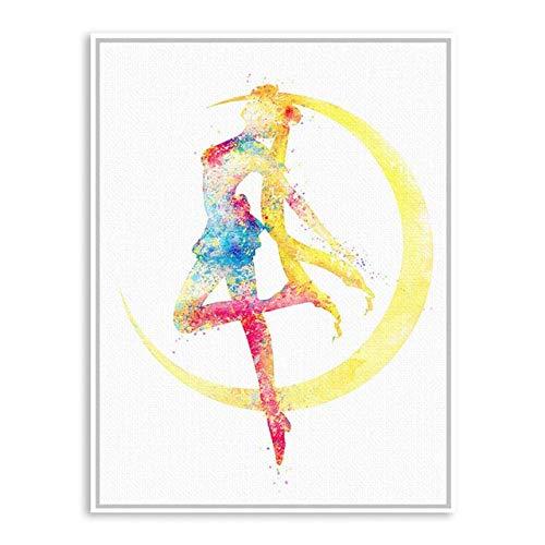 N / A Animierte Wandplakat magische Mädchen Seemann Kunstdruck Leinwand Malerei Cartoon Mädchen Raumdekoration Malerei Rahmenlos 60x70cm