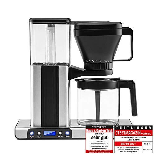 Gastroback 42706 Design Brew Advanced Filterkaffeemaschine, schnelles Aufbrühen: 1,25 Liter (ca.10 Tassen) in 6 Min, LCD-Display mit Auto-Start Timer, 1550 Watt, Kunststoff, Edelstahl/schwarz