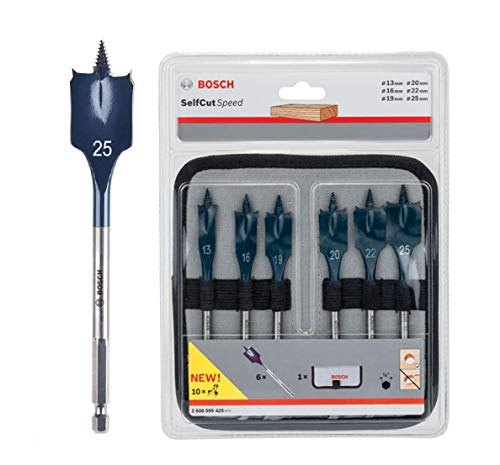 Bosch SELFCUT FLAT WOOD BIT SET, 6PC 2608595425