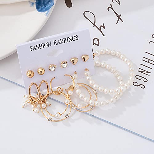 XCWXM Pendientes de Oro de Moda Conjunto de Pendientes de aro de Perla Femenina de Gran tamaño de Metal Redondo Pendientes Punk Pendientes Pendientes Joyas de borla-EH924