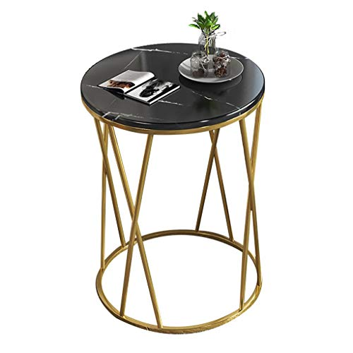 ZWJLIZI Coffee table, sofa side table, light living room marble pattern small round table, small apartment bedside table (Color : B, Size : 50X56CM)