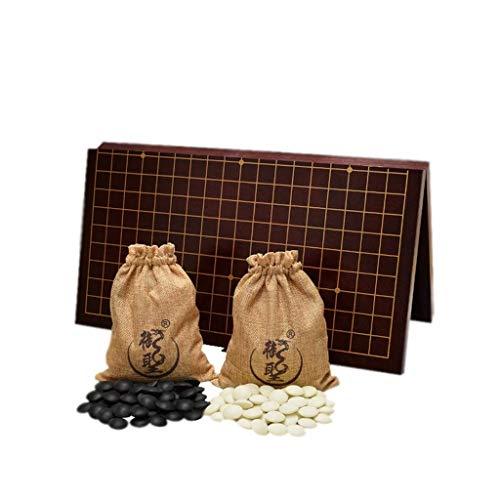 Spielset Doppelte konvexe Yunzi-Steine mit zwei Go-Pieces-Tabletts und zusammenklappbaren MDF-Go-Brettspiel-Geschenken für Herren und Jugendliche (Farbe: A1)