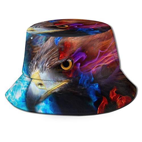 Sombrero unisex del pescador del sombrero del pescador del águila rojo azul fuego cielo viajes playa sol sombreros para hombres mujeres