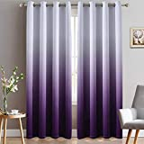 Yakamok Light Blocking Gradient Color Curtains Purple Ombre Blackout Curtains Room Darkening Thermal Insulated Grommet Window Drapes for Living Room/Bedroom (Purple, 2 Panels, 52x84 Inch)