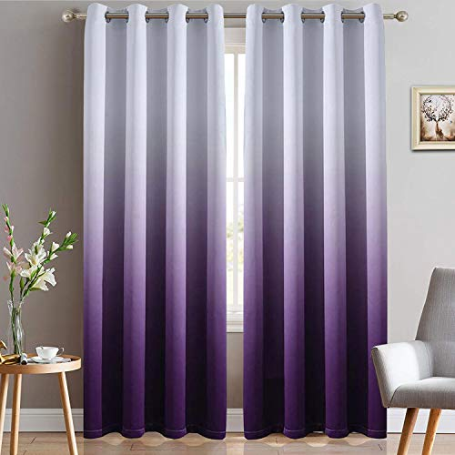 Yakamok Light Blocking Gradient Color Panels Purple Ombre Blackout Curtains Room Darkening Thermal Insulated Grommet Window Drapes for Living Room/Bedroom (Purple, 2 Panels, 52x84 Inch)