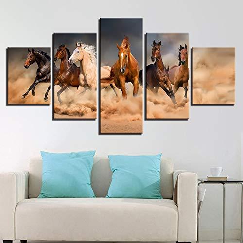 KDSFHLL 5 Dekorative Gemälde Leinwand Gemälde Wand Kunst 5 Stück Im Galopp Pferde Poster Hd Drucke Laufende Für Wohnzimmer Wohnkultur