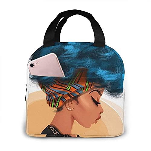 Bolsas de almuerzo con estampado de pelo rizado para niña africana, lonchera aislada para adultos para picnic, senderismo, viaje en la playa, organizador de almacenamiento de alimentos reutiliza