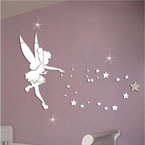 Fushoulu Kreative Engel Stil Acryl 3D Spiegel Wandaufkleber Tinkerbell Fee Prinzessin Sterne Wandtattoo Für Kinderzimmer Wohnkultur