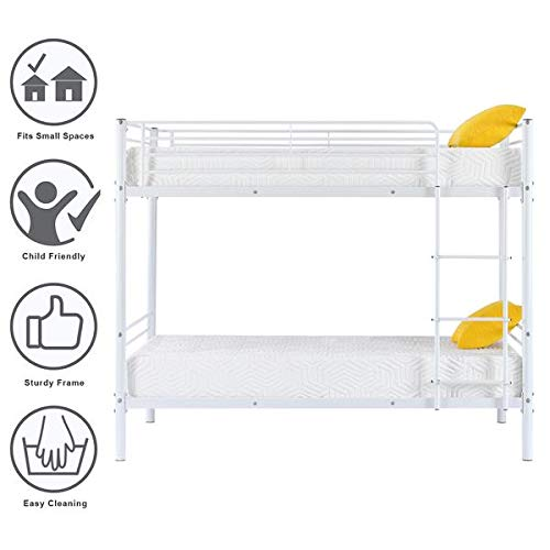 Great Features Of Iron Bed,Double-Layer Bed with Removable Ladder for Kids -White