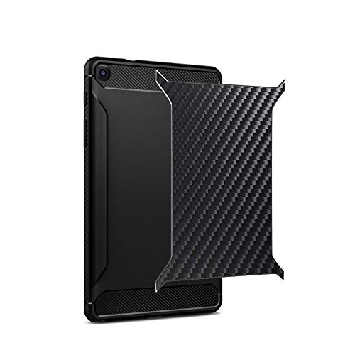 Vaxson 2 Unidades Protector de pantalla Posterior, compatible con Samsung Galaxy Tab A 8 (2019) SM-P200 (Wi-Fi) / SM-P205 (LTE), Película Protectora Espalda Skin Cover - Fibra de Carbono Negro