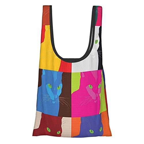GIERTER Katzen-Dekor, Pop-Art-Stil, Fractal Kitty Portraits Rahmen mit Farbeffekten, Kunstdruck, mehrfach verwendbar, faltbar, umweltfreundlich, Einkaufstaschen