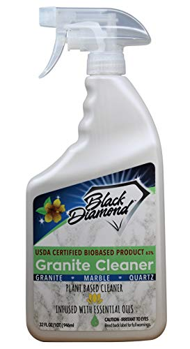 Black Diamond Stoneworks Granite Counter Cleaner: USDA Certified BIOBASED- Safe for Granite, Quartz, Marble, Travertine, Countertops. (1-Quart)