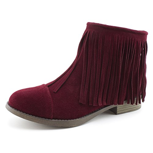 Kali Women's Western Side Zipper Fringe Faux Suede Ankle Booties, Womens, Wine, 7 M US Women