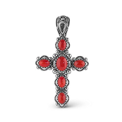 American West Sterling Silver Red Coral Gemstone Cross Pendant Enhancer