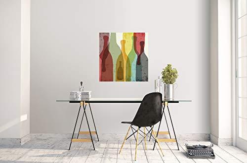 Póster con Siluetas de Vino, Tequila, Vodka y Acuarela, diseño de Botellas de Vino, decoración del hogar giclée, 30 x 30'' (76 x 76 cm)