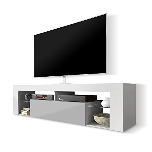 Selsey Hugo - Meuble TV/Banc TV 140 cm (Blanc/Gris)