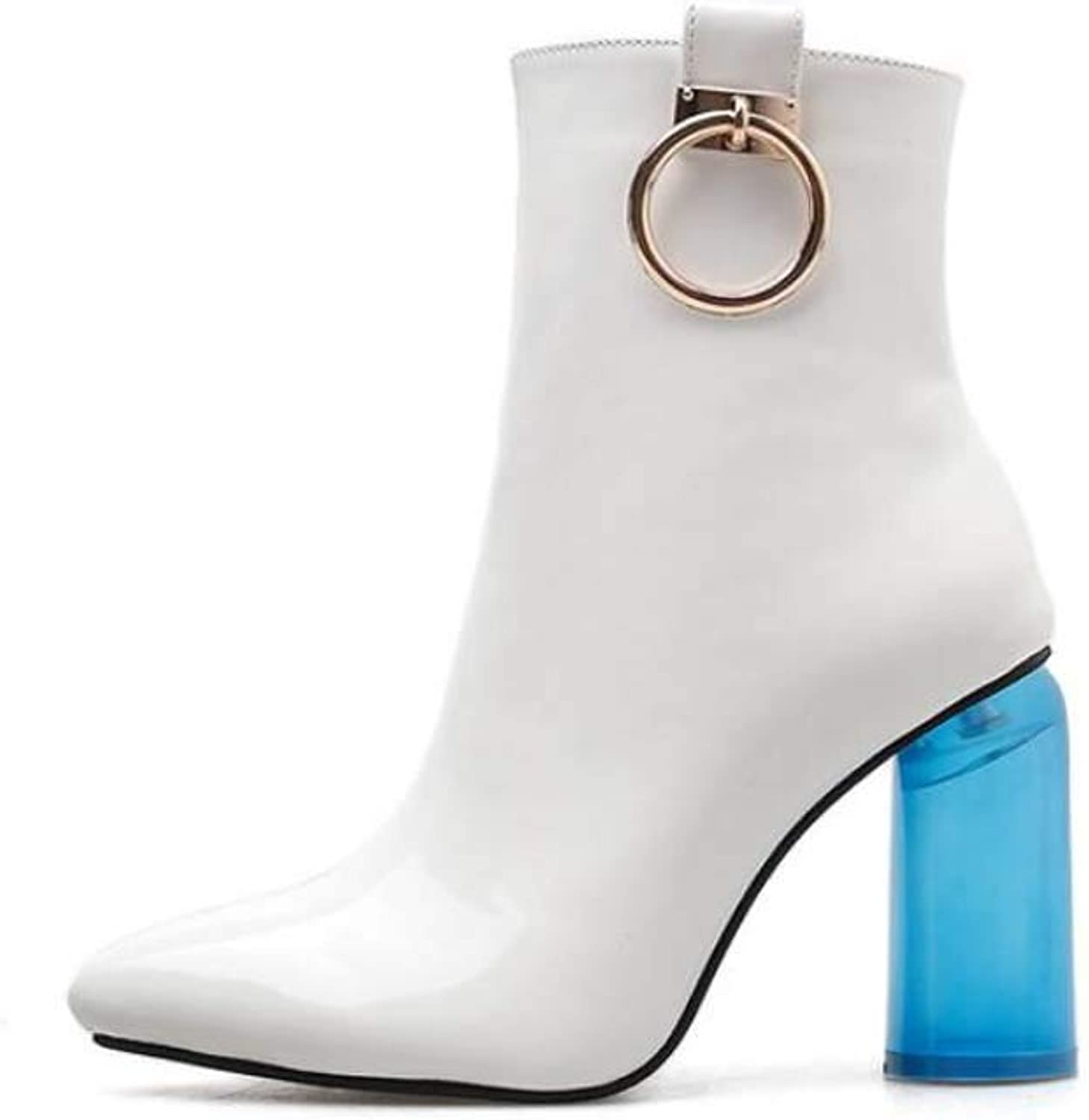 9.5Cm bluee Chunkly Heel Ankle Bootie Women Fashion Pointed Toe Zipper Ring Deco Party Dress shoes EU Size 34-40