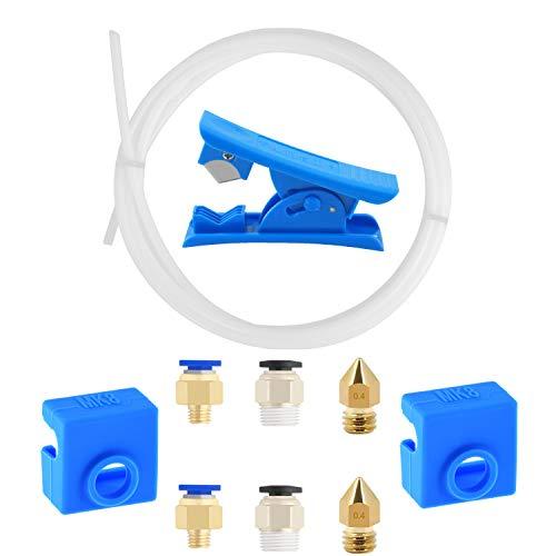 1m Tubo Teflon di PTFE con PC4-M6 Connettore Pneumatico Raccordi ugelli in ottone 0,4 mm tagliatubi per tubi er il collegamento per stampante 3D Filamento 1,75 mm