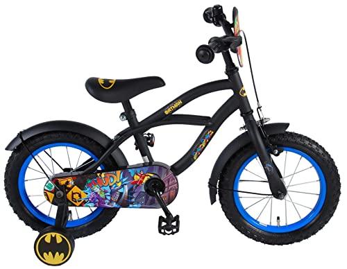 .Batman Bici Bicicletta Bambino 14 Pollici con Ruotine Rimovibili Nero 95% assemblata
