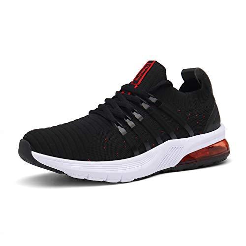 IceUnicorn Herren Damen Laufschuhe Fitnessschuhe Atmungsaktiv Gym Sportschuhe Straßenlaufschuhe Outdoor Turnschuhe Joggen Schuhe Freizeit Sneaker(09-Schwarz/Rot,42EU)