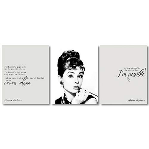 My Vinyl Story Audrey Hepburn Wall Art Poster Decor Print Inspirational Quote Picture for Girls Gifts Her Prints Set of 3 (8x10 Inch Print Only)