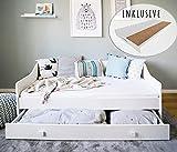 Kinderbett 80x160 mit Matratze, Rausfallschutz, Lattenrost & Schublade in weiß 160 x 80 cm Bett Kinder Sofa Couch