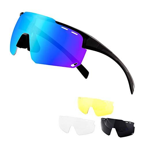 DUDUKING Occhiali da Sole Sportivi Polarizzati,Grande Schermo Occhiali Ciclismo Anti-UV 400 Protezione Occhiali da Sole con 4 Lenti Intercambiabili, Uomo Donna per Corsa, Moto, MTB e Running (Nero-1)