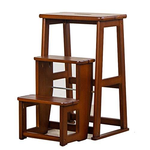 GAXQFEI Taburete con peldaños de madera Escalera plegable de doble uso Escalera de madera para el hogar Taburete con 3 escalones para niños Escabeau Multifonctionnel Pliant En Bois Solide De Chaise D