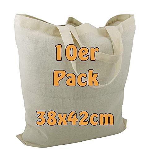 Cottonbagjoe 25 Baumwolltaschen | 38x42 cm | unbedruckt | mit zwei kurzen Henkeln | bemalbar | Öktex 100 zertifiziert | Jutebeutel | Stofftaschen