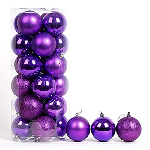 LIUSHI 24ct Christmas Ball Ornaments Shatterproof Christmas Decorations Tree Balls Small for Holiday Wedding Party Decoration-Purple 4cm(1.57in)