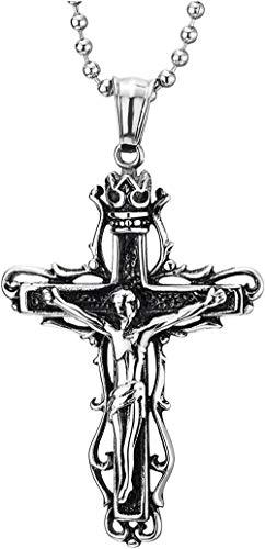 DUEJJH Co.,ltd Collar con Colgante de Cruz de crucifijo de Jesucristo con Corona de Vid Vintage de Acero para Hombre, Cadena de Bolas de 30 Pulgadas