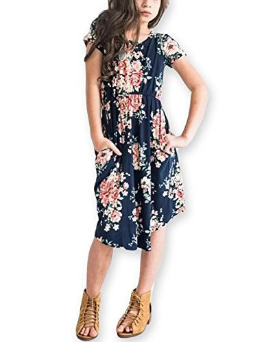 Girls Floral Maxi Dress,Kids Casual Short Sleeve T Shirt Dresses Pocket for Toddlers,Dark Blue,10 Years