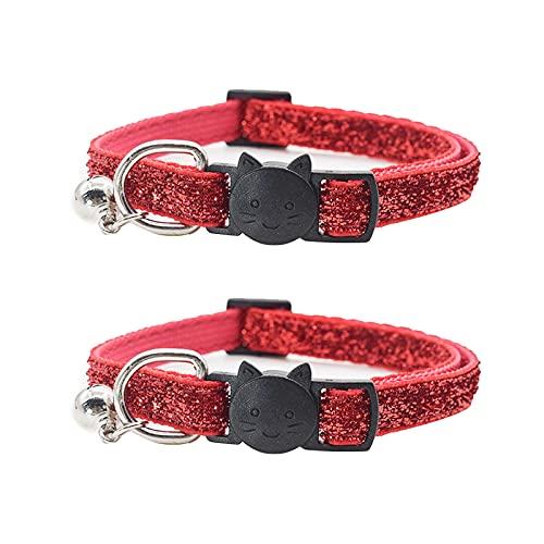 Collar de gato con campana, 2 unidades, para perros pequeños, color rojo, ancho de 1,0 cm, ajuste: 21 – 34 cm