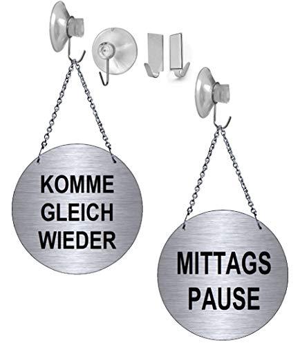 Desi-Schilder Mittagspause-Komme gleich Wieder-Alu.-Edelstahloptik-Wendeschild-Infoschild-Hängeschild-Schild-130 mm Ø-Mit Kettchen (139-15 - mit Klebehaken)