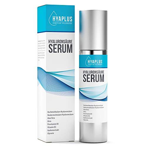 Hyaluron Serum hochkonzentriert - Anti Aging Serum mit 2x Hyaluronsäure, Aloe Vera, Gurkenextrakt, Vitamin B5, B3, Glycerin, Urea - Alle Hauttypen, 50ml Naturkosmetik, Hergestellt in Deutschland 🇩🇪
