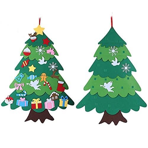 Amycute Árbol de Navidad del Fieltro, DIY Fieltro Árbol de Navidad con los Ornamentos Desmontables 25pcs, Colgar En La Pared Árbol De Navidad, Decoración de Navidad Regalo para Niños